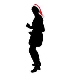 young attractive woman in santa claus hat dancing vector image