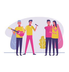 young people sharing free time vector image