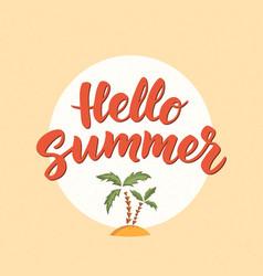 Hello summer text with beach design elements vector