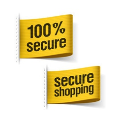 Secure shopping labels vector image vector image