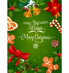 Christmas Day holiday poster or frame design vector image vector image