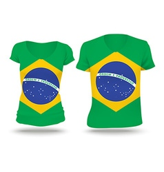 Flag shirt design of Brazil vector image vector image