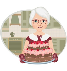 Grandmother baked a cake vector