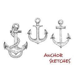 Heraldic ship anchors sketch icons vector image vector image