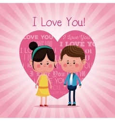lovely young couple smiling i love you pink heart vector image vector image