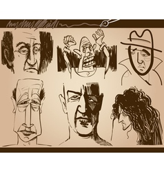 people faces cartoon sketch drawings set vector image vector image