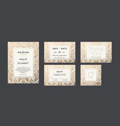 vintage wedding invitation collection modern vector image