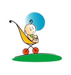 Cute little baby sitting in a stroller vector image