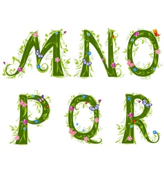 foliage letter 3 vector image