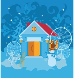 Santa House on winter landscape vector image