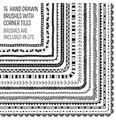 set of fifteen hand drawn brushes vector image