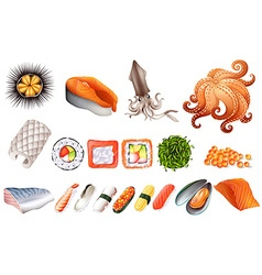 Sushi and seafood set vector image vector image