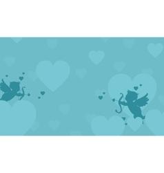 Flying cupid valentine landscape collection vector image