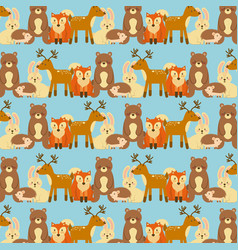 forest animals wildlife natural seamless pattern vector image vector image