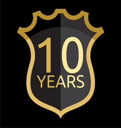 Golden shield years vector image vector image