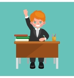 little boy sitting at the table with notebooks and vector image