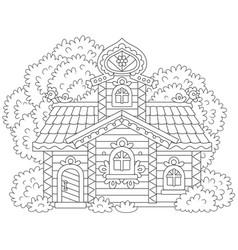 ornate log cabin vector image vector image