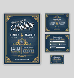 vintage luxurious wedding invitation on chalkboard vector image vector image