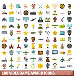 100 videogame award icons set flat style vector image
