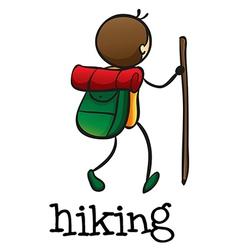 A stickman hiking vector