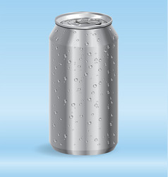 Aluminum drink soda can with water droplets vector