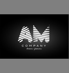 Am a m letter alphabet logo black white icon vector