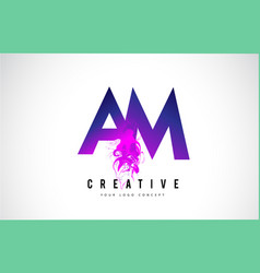 Am a m purple letter logo design with liquid vector