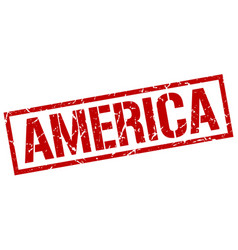 America red square stamp vector