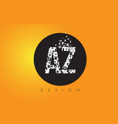 Az a z logo made of small letters with black vector