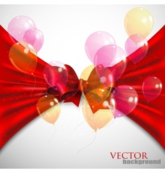 Background with red bow and flying transparent vector