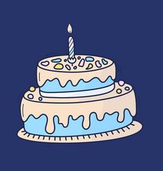 birthday cake with candle symbol celebration vector image