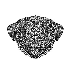 black and white pug with ethnic floral ornaments vector image