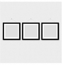 black picture frame set transparent background vector image