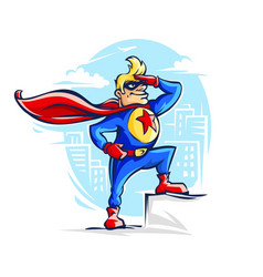 Brave superhero man in costume vector