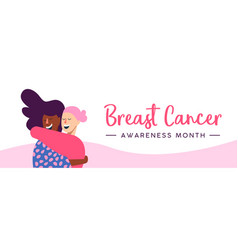 breast cancer awareness web banner of women hug vector image