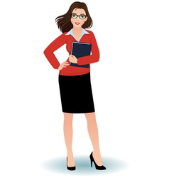 Business woman with a binder vector image