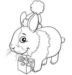 Cartoon bunny on christmas time coloring book page vector