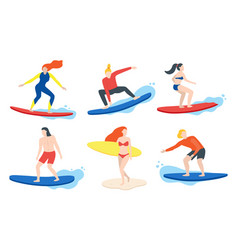 cartoon color characters people surfing concept vector image