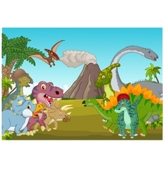 Cartoon group of dinosaur with mountain vector