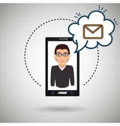 cartoon man smartphone cloud email vector image