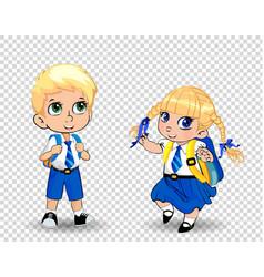 Cartoon school girl and boy wearing uniform vector