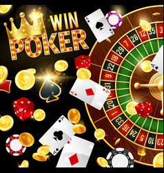 casino gambling and poker roulette wheel vector image