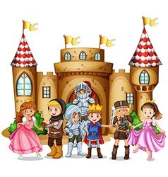 Characters from fairytales and castle vector image
