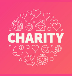 Charity round creative outline vector