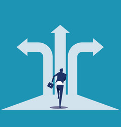 Choice way businessman with crossroads and vector