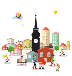 city life with tower and buildings people in town vector image