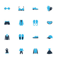 clothes icons colored set with sandals swimming vector image