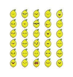 collection kawaii lemon fruit emoticons vector image