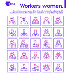 Color linear icon set workers women vector