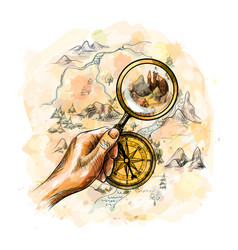 Compass and magnifying glass with treasure map vector